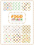 Set of food and drink seamless patterns. Food Attack. Stock Photo