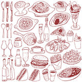 Set of food and drinks doodle. Cafe menu. hand drawn illustrations Stock Image