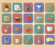 Set of food and drinks icons. Stock Images