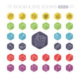 Set of food and drinks icons for restaurant, grocery store, comm Stock Images