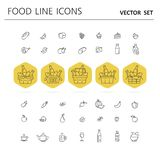 Set of food and drinks icons for restaurant, grocery store, comm Stock Image