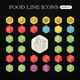 Set of food and drinks icons for restaurant, grocery store, comm Stock Photos