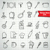 Set of food and drinks icons. Vector illustration. Royalty Free Stock Photography