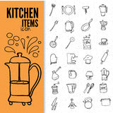 Set of food and drinks icons. Royalty Free Stock Photo