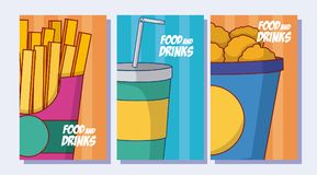 Set of food and drinks. Menu covers Royalty Free Stock Image