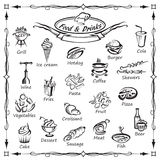 Set of food and drinks. Monochrome set of food and drinks elements stock illustration