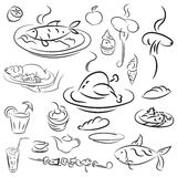 Set food and drinks sketch. Doodles collection mangal menu and desserts. Vector elements grilled chicken and fish on a platter, sausage on a fork, barbecue Stock Photography