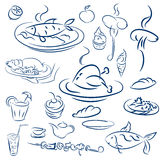 Set food and drinks sketch. Doodles collection mangal menu. And desserts. Vector elements grilled chicken and fish on a platter, sausage on a fork, barbecue Stock Photo