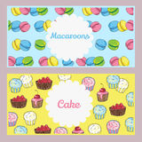 Set of food flyers with sweets, cakes. Useful for cafe or bistro Royalty Free Stock Photography