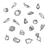 Set of food hand drawn doodles. Vector illustration Royalty Free Stock Photo