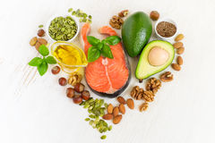 Set of food with healthyl fats and omega-3 Royalty Free Stock Photos