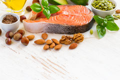 Set of food with high content of healthy fats and omega 3 Royalty Free Stock Photo