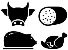 Set food icon for meat production Stock Images