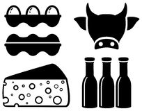 Set food icon for milk production Stock Photos