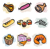 Set of Food Icons. Set of multiple food icons including bread and french bakery royalty free illustration