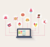 Set of food icons on a blog. Surrounding a laptop computer with coffee, sushi, pasta, pizza, burger, cake, ice cream cones, roast meat, cupcake, and cocktails royalty free illustration