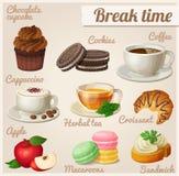 Set of food icons. Break time Stock Photos