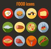 Set of food icons on colorful round buttons. Set of vector food icons on colorful round buttons depicting roast meat  fish  egg  cheeseburger  pizza  cheese Royalty Free Stock Photos