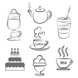 A set of food icons. A cup of hot coffee, tea and dessert. Vector illustration. A set of food icons. A cup of hot coffee and tea. Vector illustration stock illustration