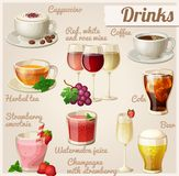 Set of food icons. Drinks. Cup of cappuccino, red, white and rose wine in glasses, cup of coffee    herbal tea    cola with ice cubes    strawberry smoothie Stock Photos