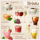 Set of food icons. Drinks. Cup of cappuccino, red, white and rose wine in glasses, cup of coffee, herbal tea, cola with ice cubes, strawberry smoothie Royalty Free Stock Image