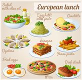 Set of food icons. European lunch Stock Images