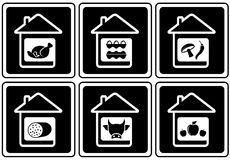 Set food icons on home Royalty Free Stock Images