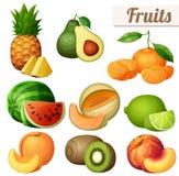 Set of food icons isolated on white background. Fruits Royalty Free Stock Images