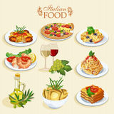 Set of food icons. Italian cuisine. Spaghetti with pesto, lasagna, penne pasta, pizza, olive oil, macaroni and cheese, red and white wine in glasses, prawns vector illustration