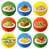 Set of food icons. Italian cuisine. Spaghetti with pesto, tomato cherry, basil prawns, meatballs, lasagna, penne pasta with tomato sauce, pizza, macaroni and vector illustration