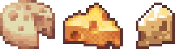 Set of food icons in pixel art style Stock Photography