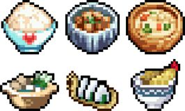 Set of food icons in pixel art style. Set of food icons in perfect pixel art. Vegetables, fruits, delicacies, meat, sweets and other food icons on plates and Royalty Free Illustration