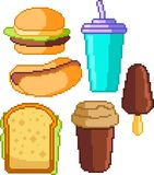 Set of food icons in pixel style. Set of fast-food icons in perfect pixel art style. Hamburger, drink, fries, ice cream, sandwich, hot dog. For your games, retro Stock Photo