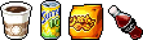 Set of food icons in pixel style. Set of fast-food icons in perfect pixel art style. Chips, drink, fries, ice cream, coffee. For your games, retro, business Royalty Free Stock Images
