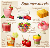 Set of food icons. Summer sweets Stock Images