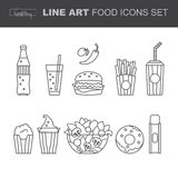 Set of Food icons, thin line style, flat design, Royalty Free Stock Photography