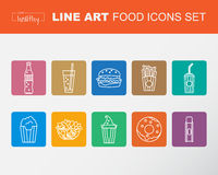 Set of Food icons, thin line style, flat design, Stock Images