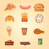 Set of food icons. Set of food icons vector illustration Royalty Free Stock Images