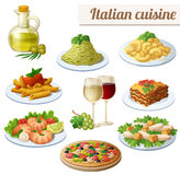 Set of food icons on white background. Italian cuisine. Spaghetti with pesto, lasagna, penne pasta with tomato sauce, pizza, olive oil, macaroni and cheese vector illustration