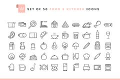 Set of 50 food and kitchen icons, thin line style. Vector illustration royalty free illustration
