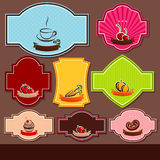 Set of food labels Stock Photos