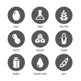 Allergens Icons - Symbols. Set of food labels - allergens, GMO free products stock illustration