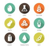 Allergens Icons - Symbols. Set of food labels - allergens, GMO free products Royalty Free Stock Photos