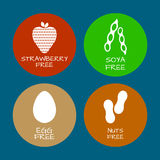 Set of food labels - allergens, GMO free products. Food intolera. Nce symbols collection. Vector illustration Royalty Free Stock Image