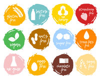 Set of food labels - allergens, GMO free products. Food intolera Royalty Free Stock Image