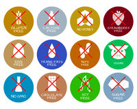 Set of food labels - allergens, GMO free products. Food intolerance symbols collection. Vector illustration Stock Photo