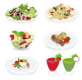 Set of food menu, Salad, Shrimp and spaghetti, Fis Stock Photo