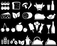 Set food objects on black background Stock Photos