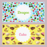 Set of food posters with sweets, cakes. Useful for cafe or bistr Stock Photography