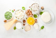Set of food rich in calcium stock image